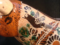 Mexican vintage pottery and ceramics, and Mexican vintage folk art, a pottery bull with fine hand-painted decoration, c. 1950. Signed on the bottom, Jose Trinidad Bernabe Lopez, Tonala, Jalisco Mexico. Another closeup.